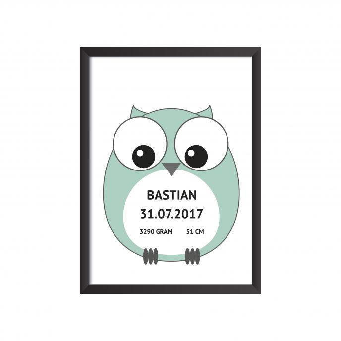 Fødselstavle Ugle grøn