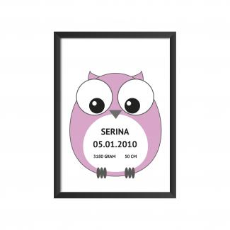 Fødselstavle - ugle - lyserød