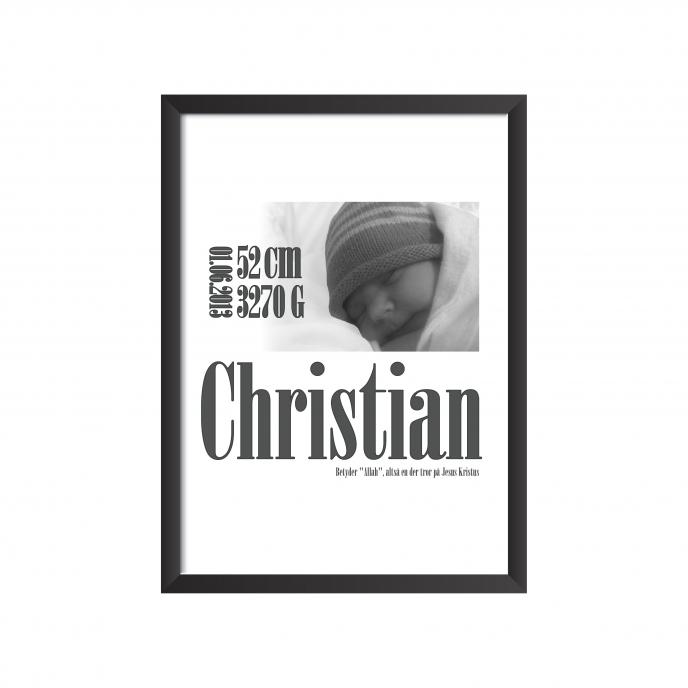 fødselstavle med billede af barnet - christian