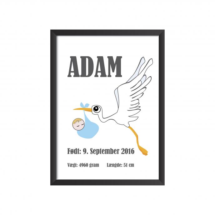 fødselstavle stork med baby blå