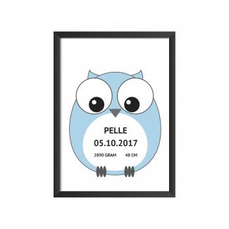 fødselstavle ugle blå